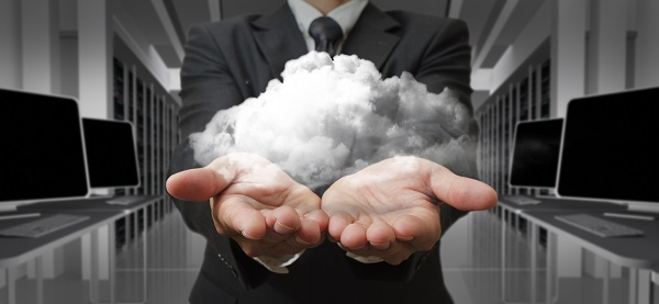 Businessman  and the cloud computing concept and business network