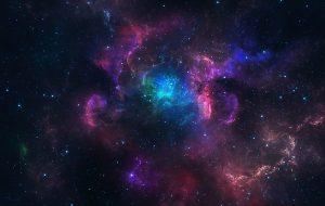 Beautiful blue and pink nebula with stars.