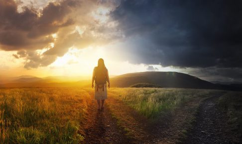 A woman walks down a path towards light.